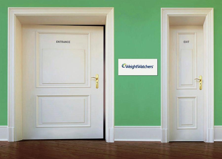 WeightWatchers борется с лишним весом. Слева - вход, справа - выход.