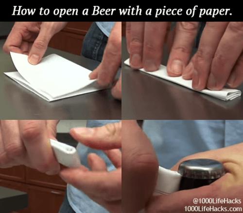 Как открыть бутылку пива при помощи бумаги
