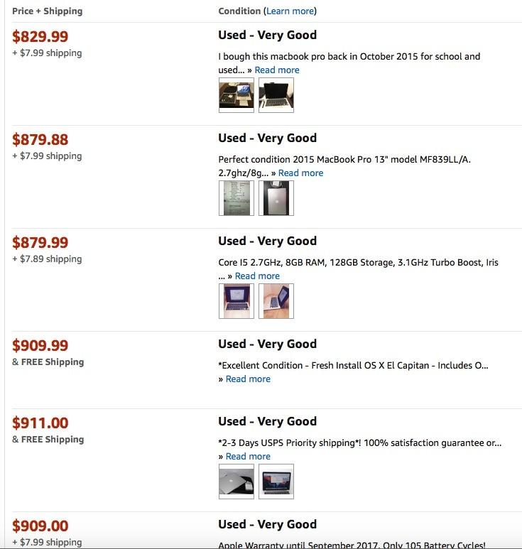 Б/у macbook pro 2015 на Amazon