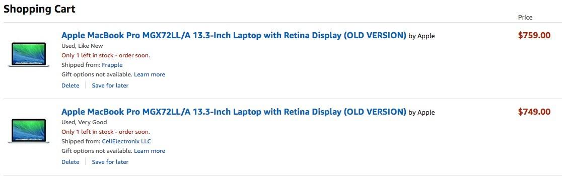 Б/у MacBook Pro с Retina из США