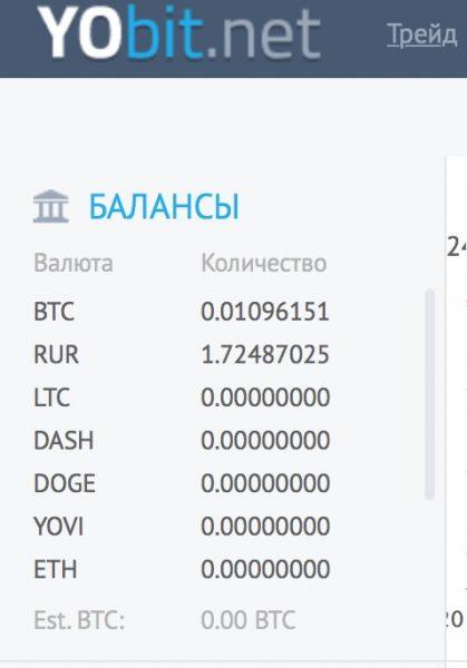 Покупка биткоина на бирже YoBit