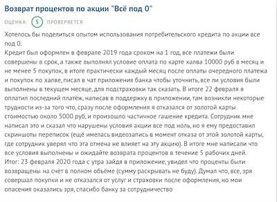 "Отзыв о кредите под 0% от ""Совкомбанка"""