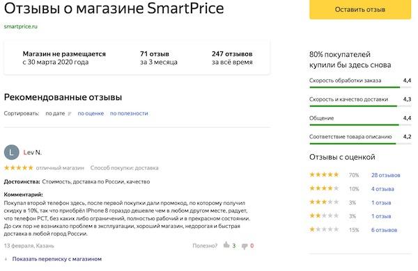 отзыв о SmartPrice на Яндекс.Маркете